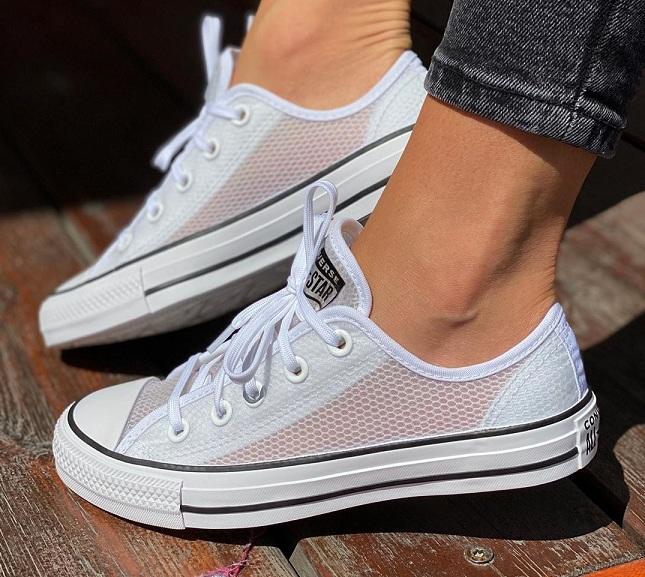 נעלי אולסטאר רשת נשים Converse Concrete Heat