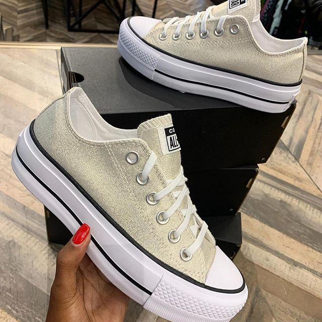 נעלי אולסטאר פלטפורמה זהב מנצנץ נשים Converse Platform