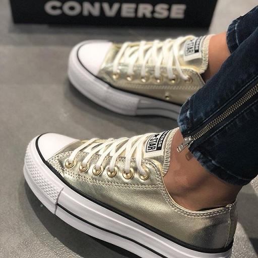 נעלי אולסטאר פלטפורמה זהב מטאלי נשים Converse Platform
