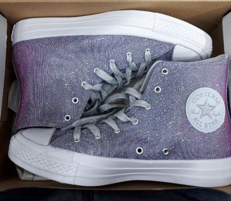 נעלי אולסטאר מנצנץ נשים Converse Pure Platinm - תמונה 4