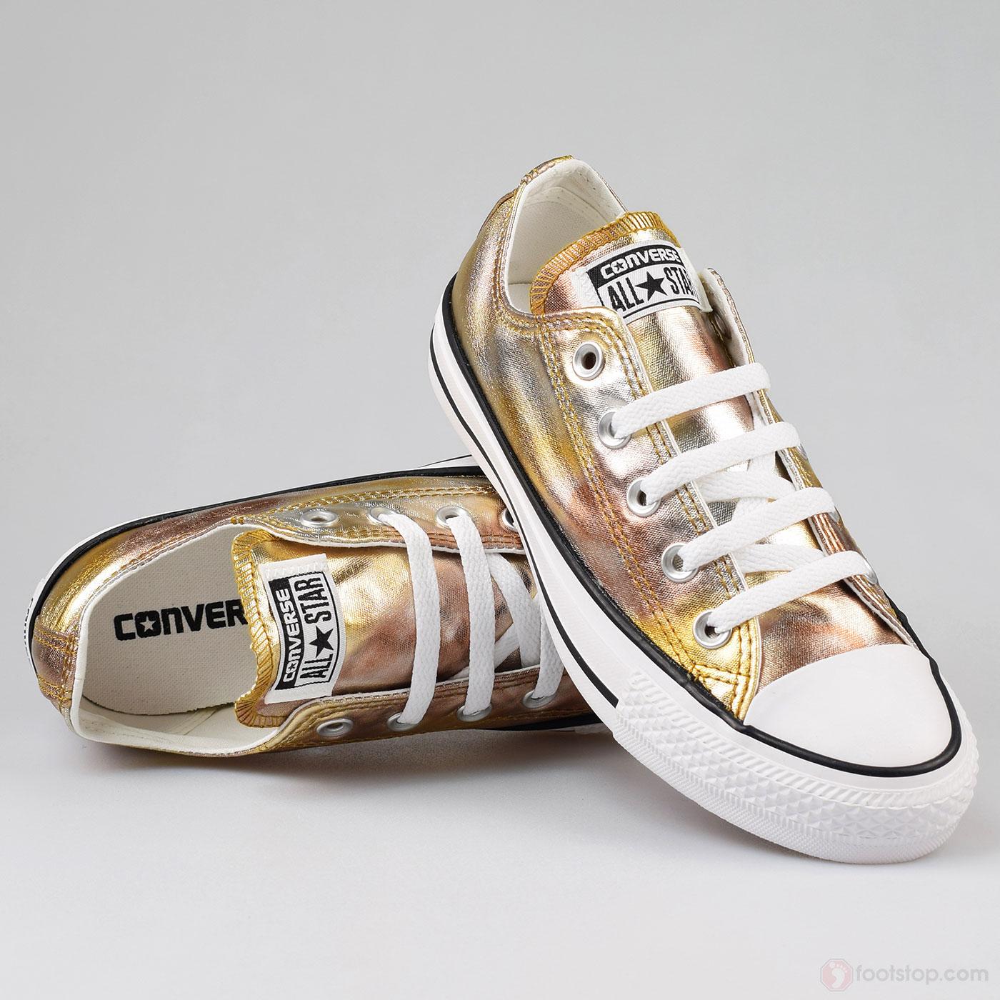 נעלי אולסטאר זהב כסף מטאלי נשים Converse Gold Silver Metal