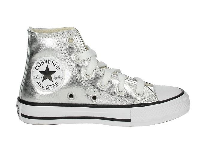 נעלי אולסטאר ילדות כסף מטאלי Converse Metal Silver
