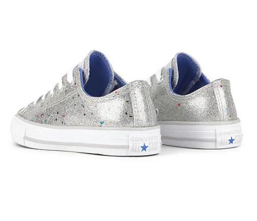 נעלי אולסטאר ילדות כסף Converse Galaxy Shimmer