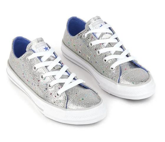 נעלי אולסטאר כסף ילדות Converse Galaxy Shimmer