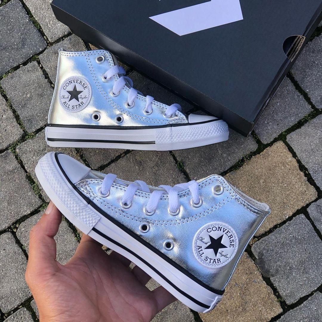 נעלי אולסטאר ילדות כסף מטאלי Converse Silver Metal