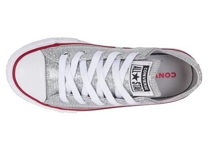 נעלי אולסטאר ילדות כסף מנצנץ Converse Sparkle - תמונה 4