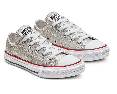 נעלי אולסטאר ילדות כסף מנצנץ Converse Sparkle