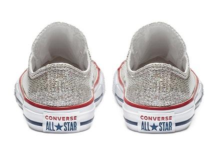 נעלי אולסטאר ילדות כסף מנצנץ Converse Sparkle - תמונה 3
