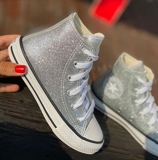 נעלי אולסטאר ילדות כסף מנצנץ Converse Silver Glitter