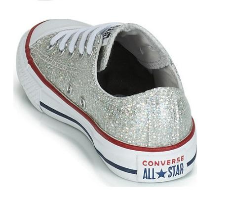 נעלי אולסטאר ילדות כסף מנצנץ Converse Sparkle - תמונה 5