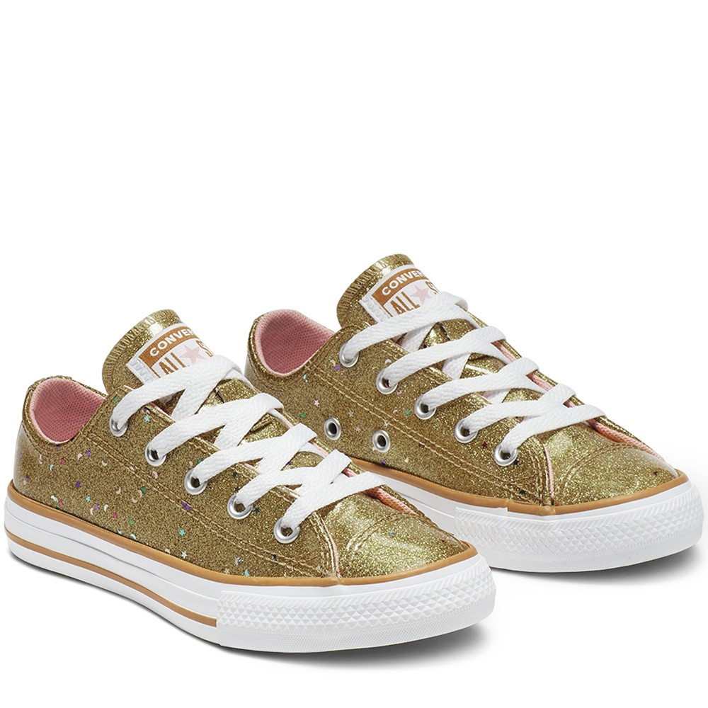 נעלי אולסטאר ילדות זהב Converse Galaxy Shimmer