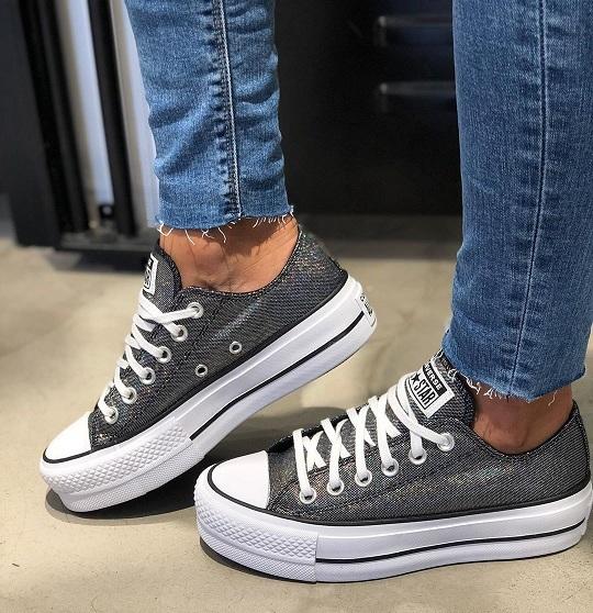 נעלי אולסטאר פלטפורמה כסף מנצנץ נשים Converse Platform
