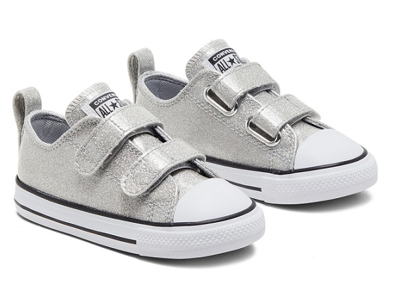 נעלי אולסטאר תינוקות כסף מנצנץ Converse Silver Sparkle