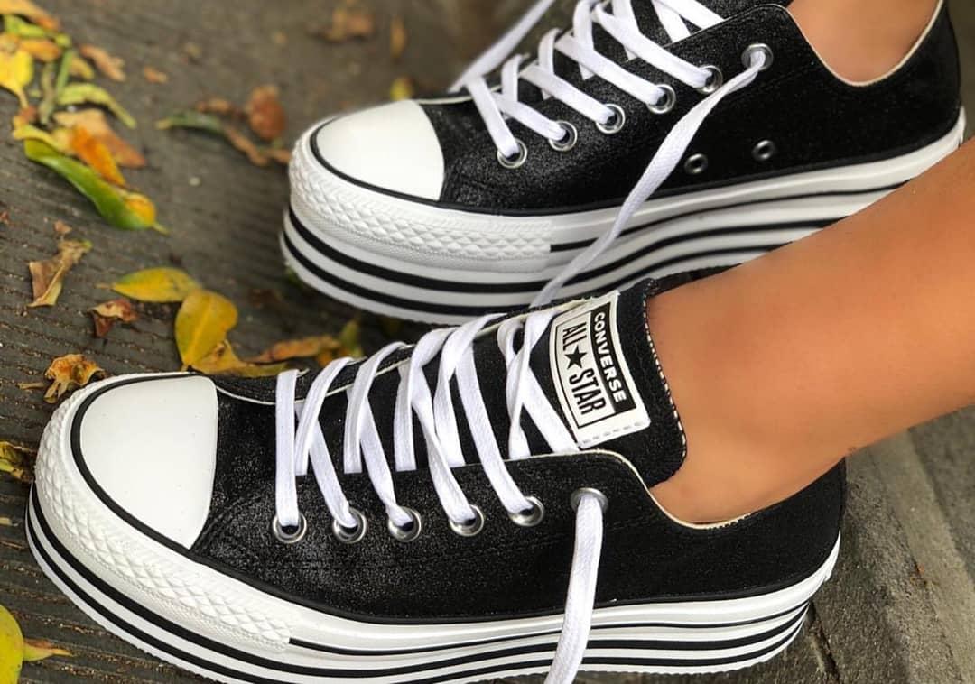 נעלי אולסטאר פלטפורמה שחור מנצנץ נשים Converse Shiny Metal Platform Black