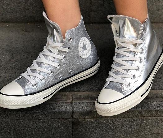 נעלי אולסטאר כסף מטאלי מנצנץ נשים Converse Shiny Metal Silver - תמונה 1