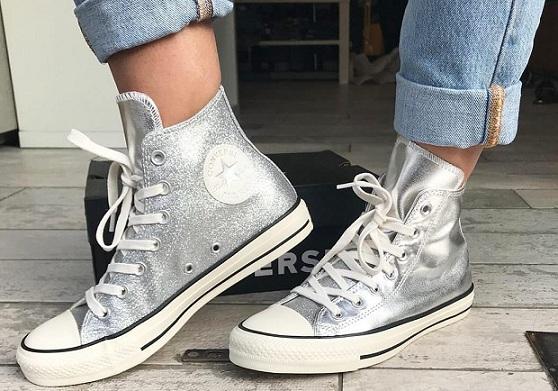 נעלי אולסטאר כסף מטאלי מנצנץ נשים Converse Shiny Metal Silver - תמונה 2