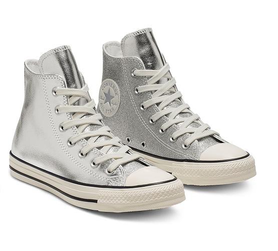 נעלי אולסטאר כסף מטאלי מנצנץ נשים Converse Shiny Metal Silver - תמונה 4