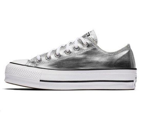 נעלי אולסטאר פלטפורמה כסף מטאלי נשים Converse Metal Platform Silver