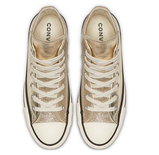 נעלי אולסטאר זהב מטאלי מנצנץ נשים Converse Shiny Metal Gold