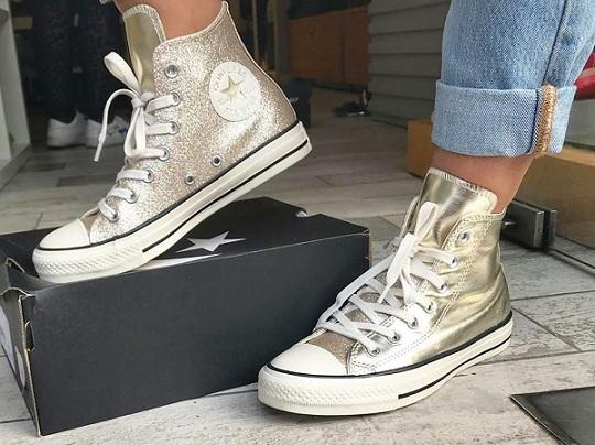 נעלי אולסטאר זהב מטאלי מנצנץ נשים Converse Shiny Metal Gold - תמונה 2