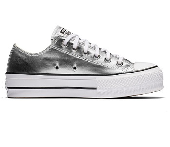 נעלי אולסטאר פלטפורמה כסף נשים Converse Metal Platform Silver