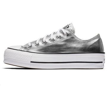 נעלי אולסטאר פלטפורמה כסף נשים Converse Metal Platform Silver - תמונה 2