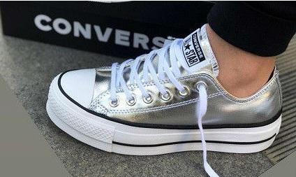 נעלי אולסטאר פלטפורמה כסף נשים Converse Metal Platform Silver - תמונה 1