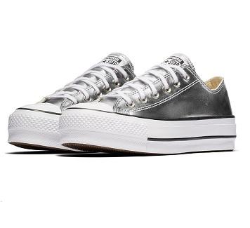 נעלי אולסטאר פלטפורמה כסף נשים Converse Metal Platform Silver - תמונה 4