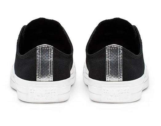 נעלי אולסטאר שחור כסף נשים Converse Black Silver - תמונה 4