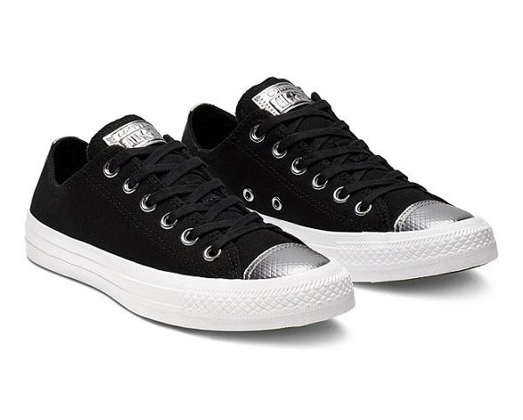 נעלי אולסטאר שחור כסף נשים Converse Black Silver - תמונה 1