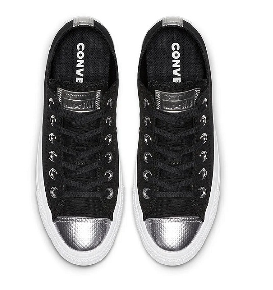 נעלי אולסטאר שחור כסף נשים Converse Black Silver - תמונה 3