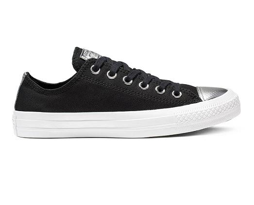 נעלי אולסטאר שחור כסף נשים Converse Black Silver - תמונה 2