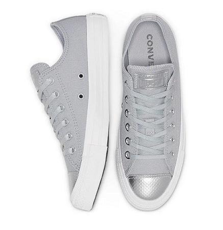נעלי אולסטאר אפור כסף נשים Converse Wolf grey silver - תמונה 3
