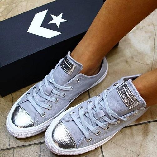 נעלי אולסטאר אפור כסף נשים Converse Wolf grey silver - תמונה 1