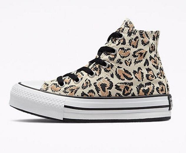 נעלי אולסטאר מנומרות פלטפורמה ילדות Converse Jungle Cats Platform