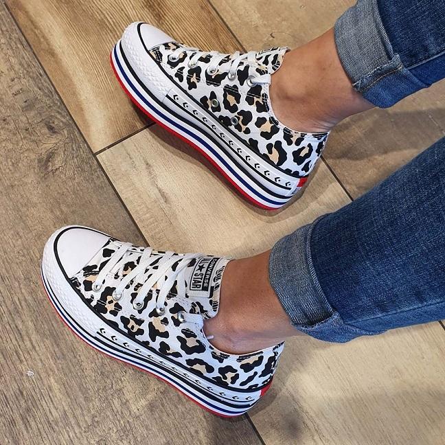 נעלי אולסטאר פלטפורמה מנומר נשים Converse Platform