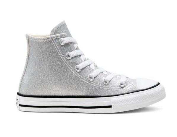 נעלי אולסטאר כסף מנצנץ ילדים Converse Silver Glitter