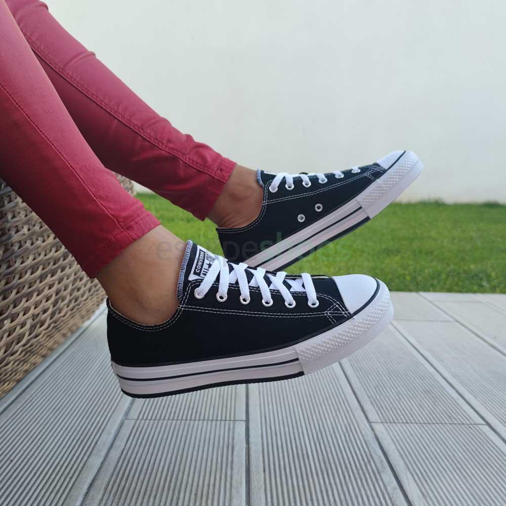 נעלי אולסטאר פלטפורמה שחור ילדות Converse  Platform Kids