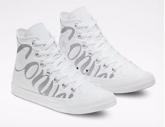 נעלי אולסטאר כיתוב כסף נשים Converse White Multi