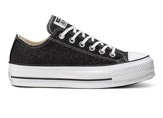 נעלי אולסטאר פלטפורמה שחור מנצנץ נשים Converse Glitter Platform  - תמונה 4