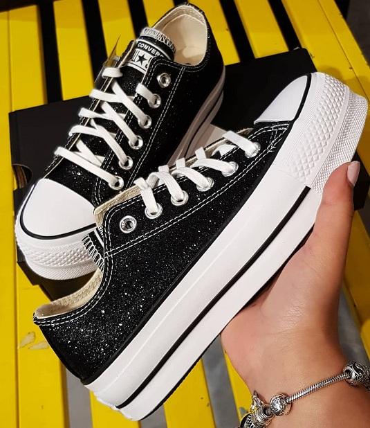 נעלי אולסטאר פלטפורמה שחור מנצנץ נשים Converse Glitter Platform  - תמונה 2