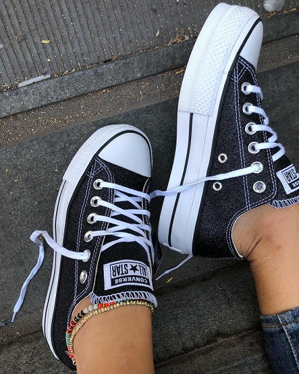 נעלי אולסטאר פלטפורמה שחור מנצנץ נשים Converse Glitter Platform  - תמונה 3