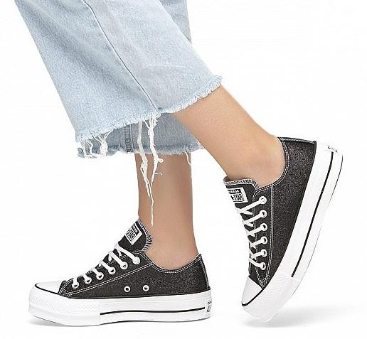 נעלי אולסטאר פלטפורמה שחור מנצנץ נשים Converse Glitter Platform  - תמונה 1