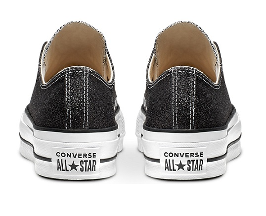 נעלי אולסטאר פלטפורמה שחור מנצנץ נשים Converse Glitter Platform