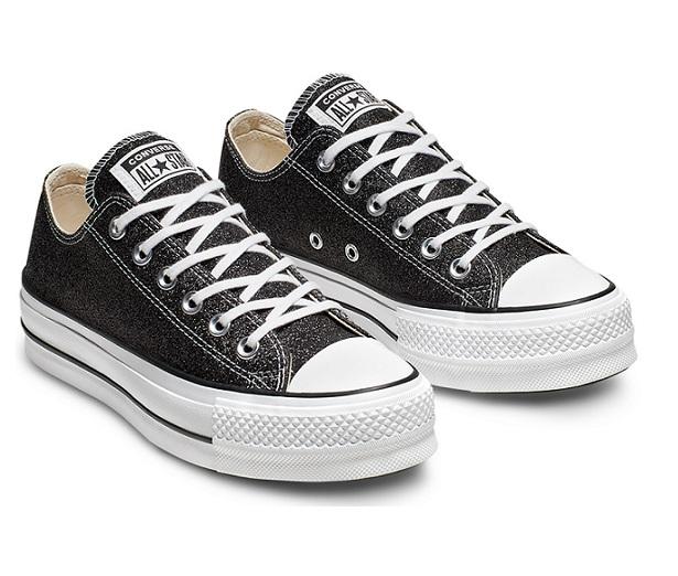 נעלי אולסטאר פלטפורמה שחור מנצנץ נשים Converse Glitter Platform  - תמונה 5