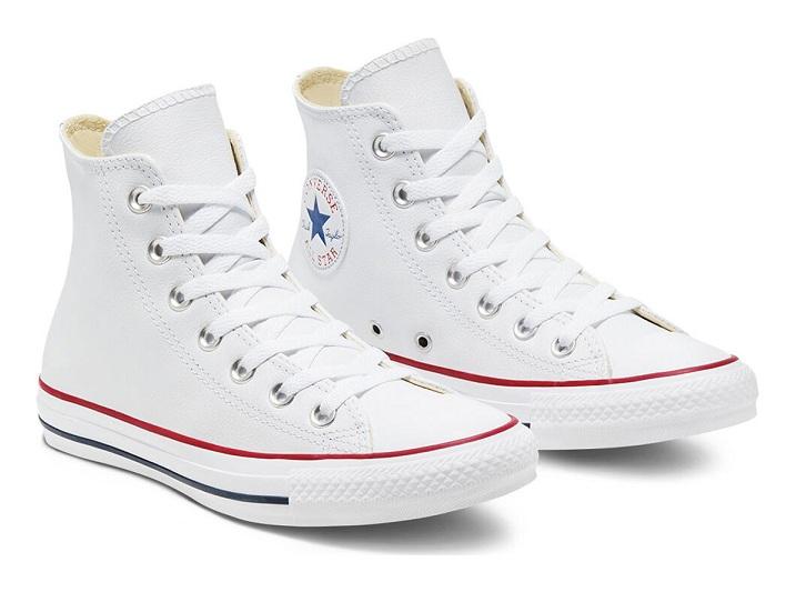 נעלי אולסטאר עור לבן גבוה נשים גברים Converse Leather White