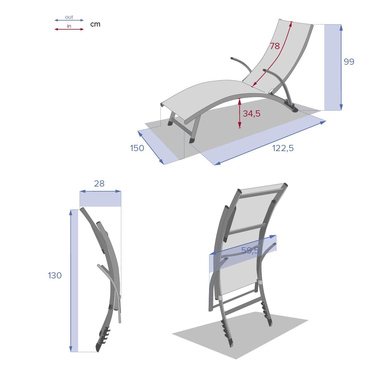 מיטת שיזוף אלומיניום מוברש דגם SAMBA