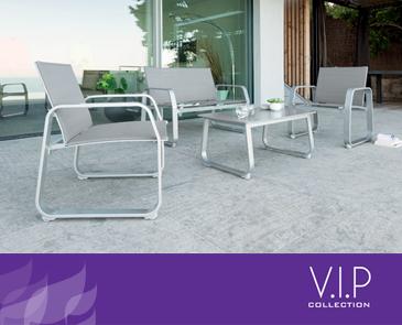 ריהוט גן ומרפסת מאלומיניום דגם WHITE בצבע אפור בהיר