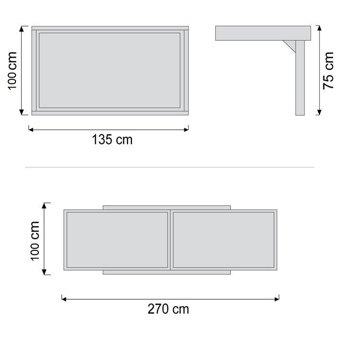 שולחן חוץ נפתח %100 אלומיניום 100x135/270 לבן