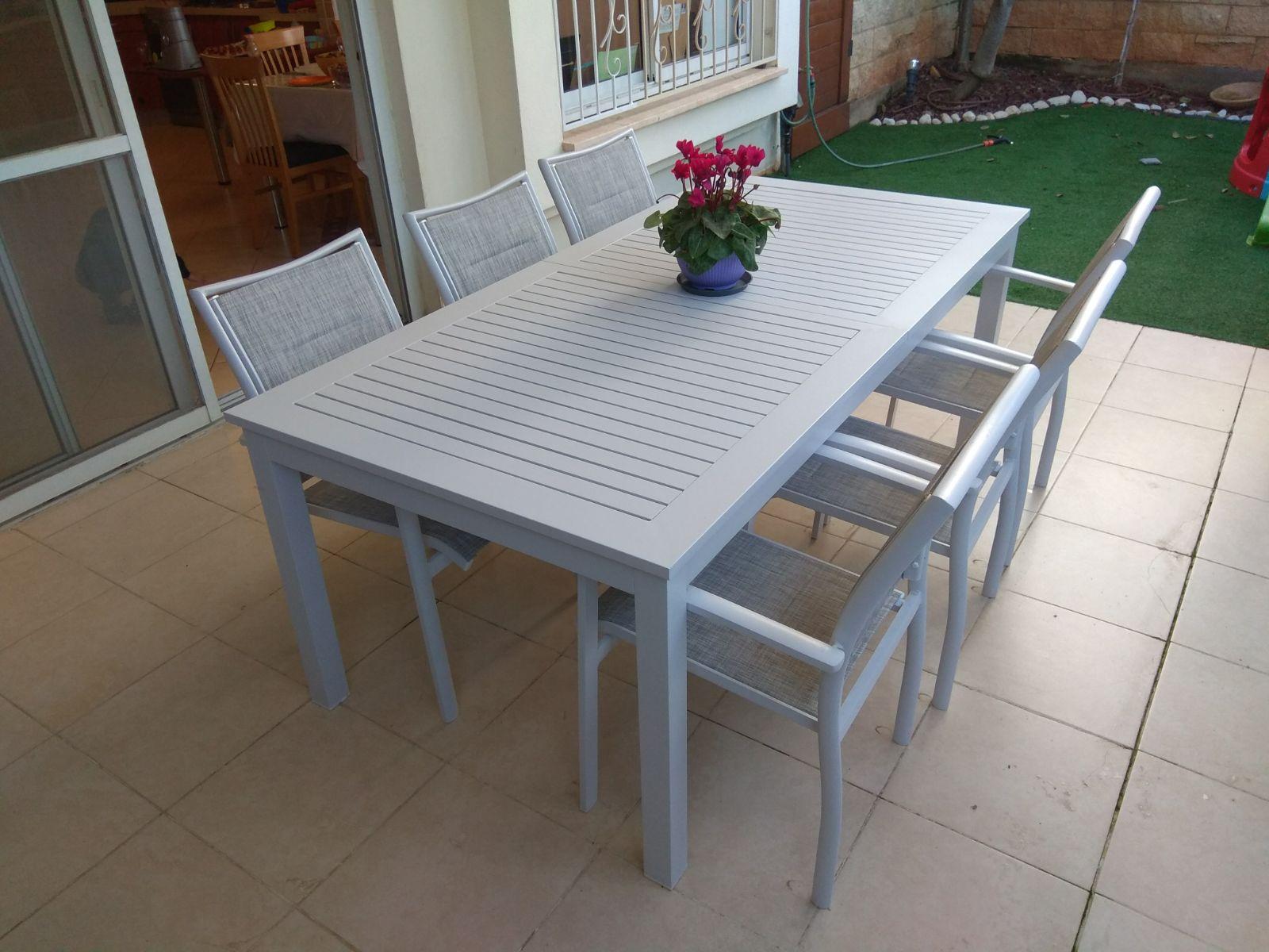 שולחן נפתח לגינה %100 אלומיניום 100x200/300 לבן/שמפניה
